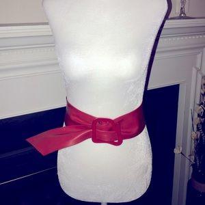 Women's Faux Leather Red Waist Belt